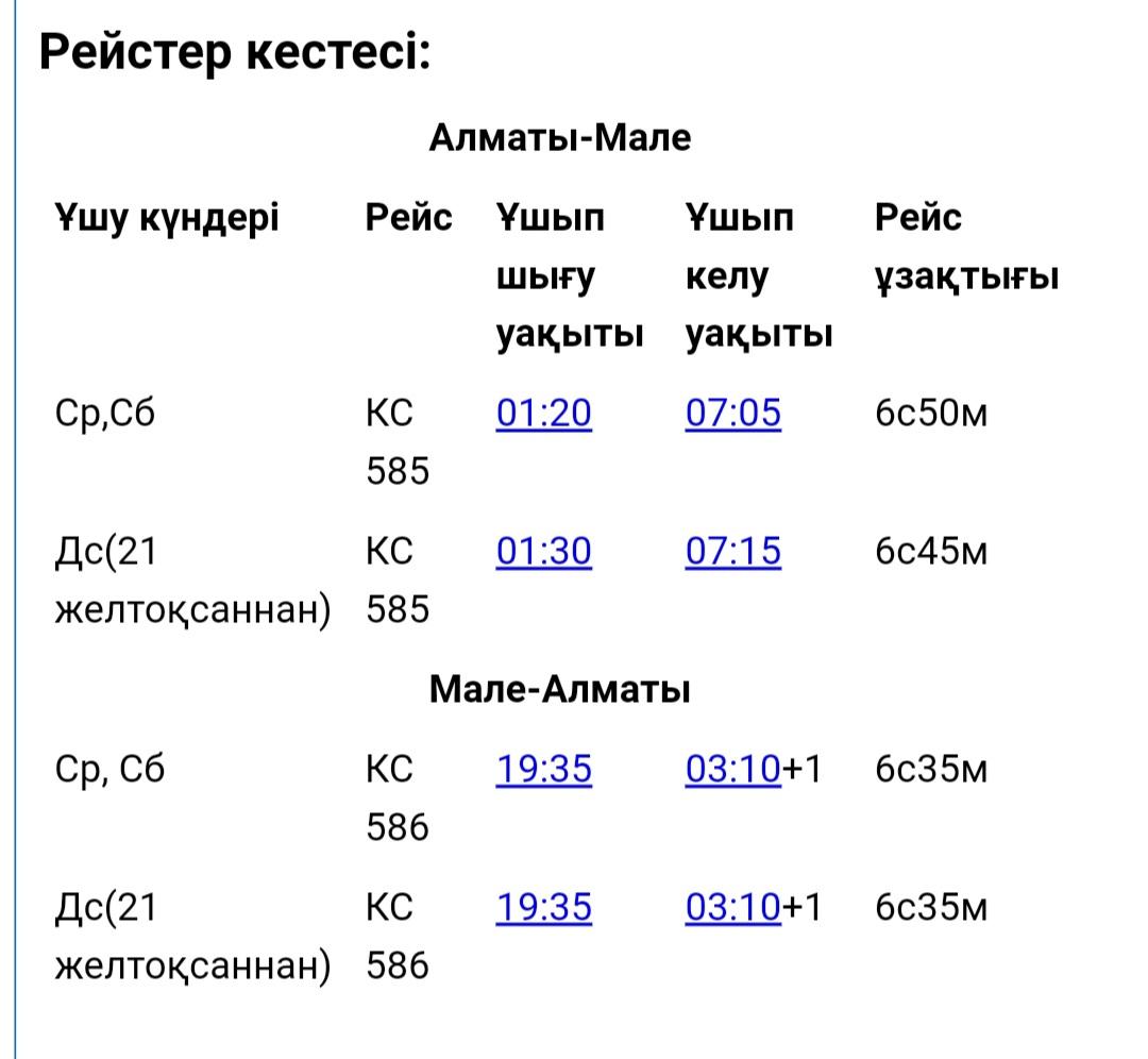 Air Astana Мальдив аралдарына рейстерді орындамақ