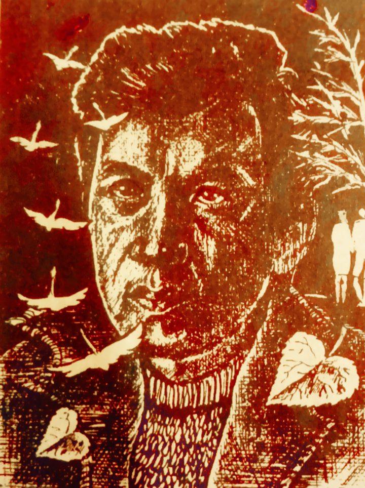 Суретте: Қ.Мұқаш. «Автопортрет. Қоңыр күз. Элегия». 1990 жыл